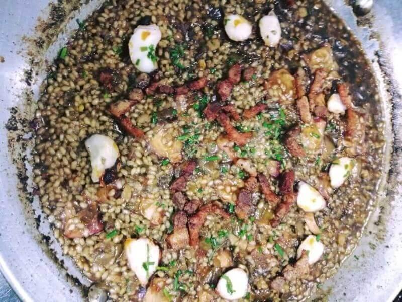 arroz con pulpo y guanciale