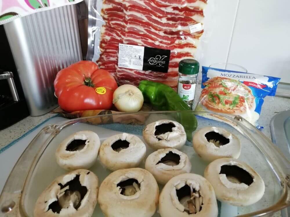 Ingredientes para esta receta de champiñones rellenos